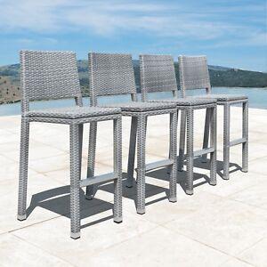 Enjoyable Details About Supernova Grey Outdoor Patio All Wicker Bar Stool Set Of 4 Machost Co Dining Chair Design Ideas Machostcouk