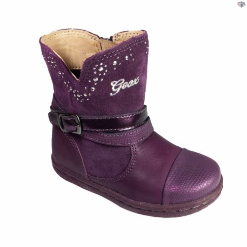 Prune Leather Winter Boots Size 22 23 24 25 26 27 Geox B Flick G.B Girls Black