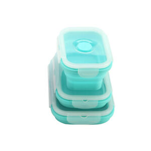 3pcs//set Silicone Collapsible Reusable Food Storage Box Fresh-Keeping Containers