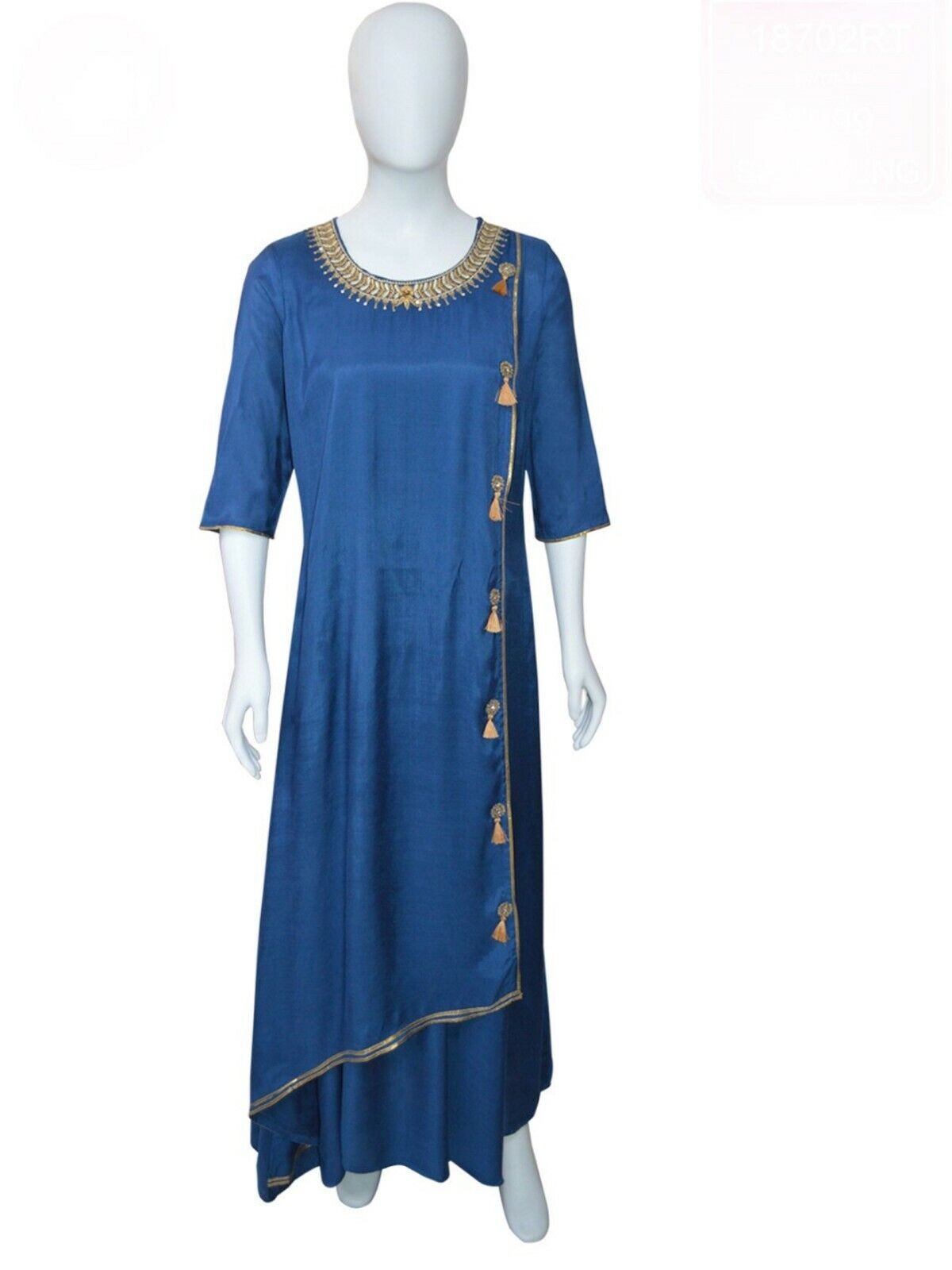 Cotton Silk Ethnic Dress with Golden Neck Embroidery   Golden Tassels   Brahhma