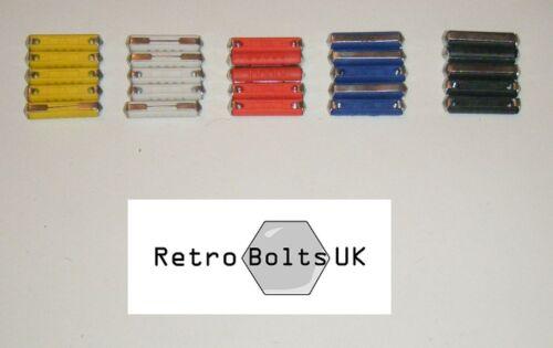 25 x Old Style Ceramic Bullet Fuses 5,8,16,25,40 Amp Mk1 Mk2 Escort Capri Anglia
