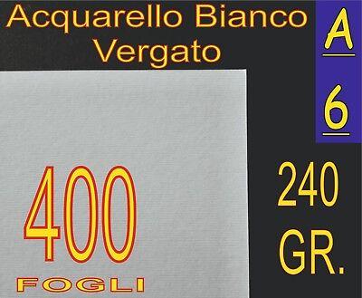 400 Ff Carta Acquarello Bianco X Stampa Laser Inkjet A6 240gr Vergata Rilievo Ampia Selezione;