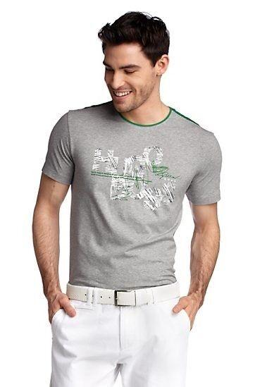 NEW HUGO BOSS MENS GREY TEDEK DESIGNER GREEN LABEL LOGO BRANDED JEANS T-SHIRT