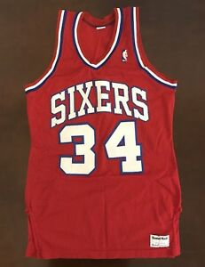 wholesale dealer e6940 91c7b Details about Rare Vintage Sand Knit NBA Philadelphia 76ers Charles Barkley  Basketball Jersey