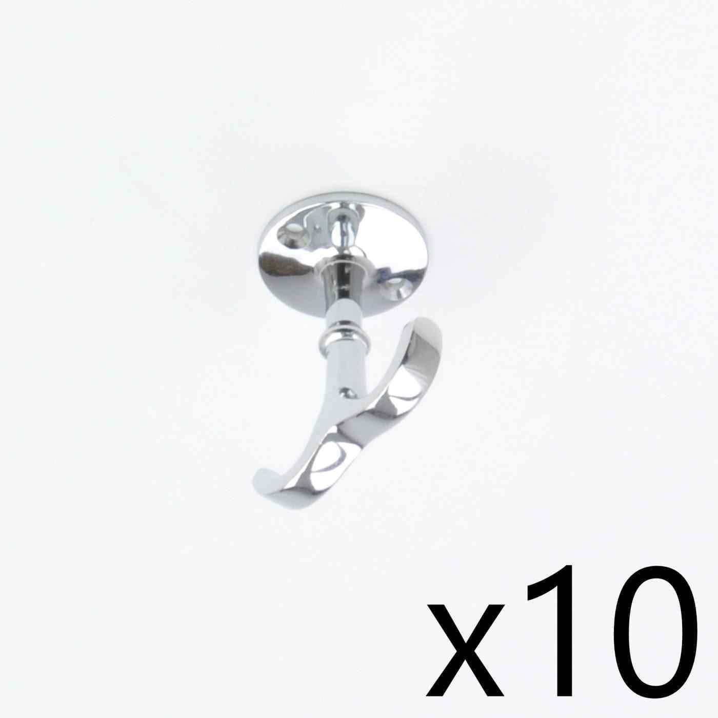 10 x argentoo Cromato in bar o Scaffale Gancio Ottone Massiccio sotto Appendiabiti Gancio