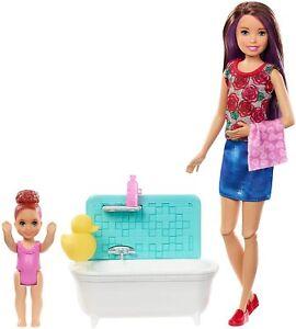 Barbie-Skipper-Babysitters-Inc-Classic-Doll-Toy-Playset-Bath-Tub-Set