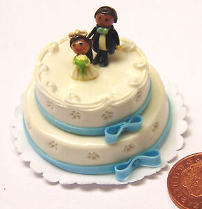 1-12-Scale-Wedding-Cake-Bride-Groom-Dolls-House-Miniature-Kitchen-Accessory
