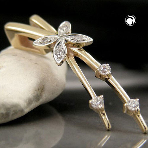 NEW 9K SOLID gold Butterfly Zirconia Pendant. 34mm (430669)