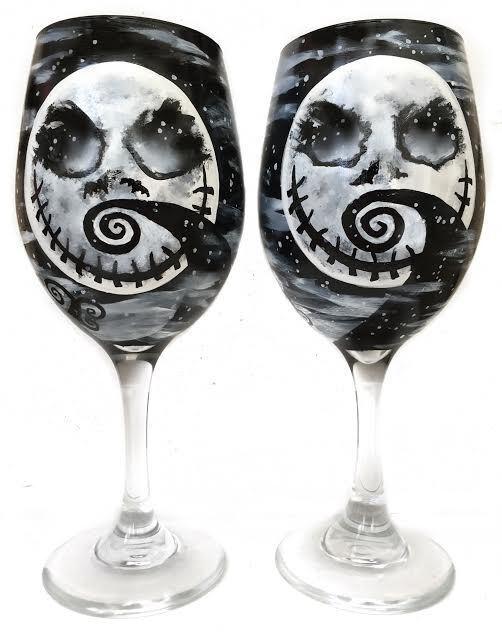 ORIGINAL Rebecca Suriano Hand Painted Nightmare Before Christmas Wine Glasses