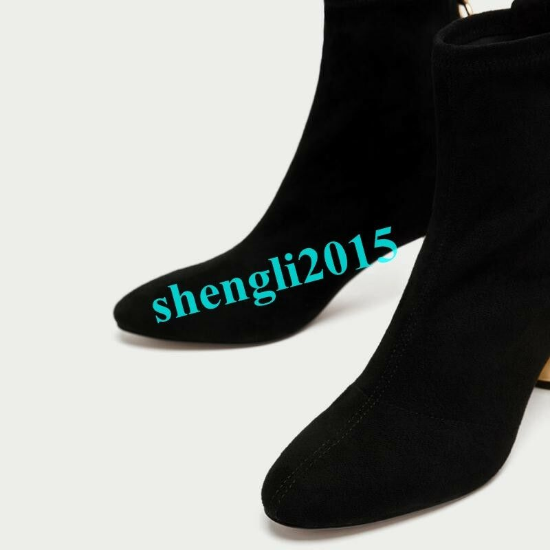 Womens Gold Block Heel Side Zipper Stretchy Ankle Boots Fashion Shoes Pointy Toe