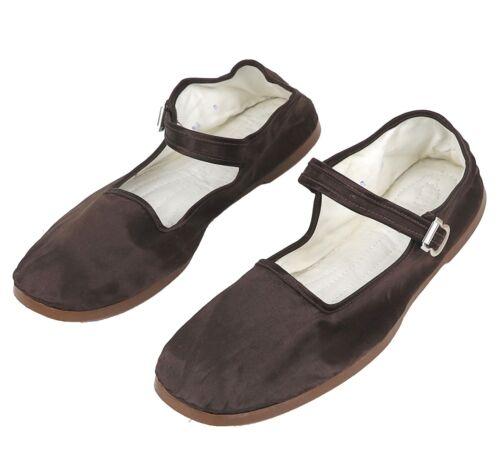 Women/'s Chinese Mary Jane Shoes Slippers Dark Brown Glossy Satin Sizes 36-38 New