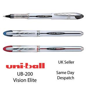 Uniball-Vision-Elite-UB-200-Rollerball-0-8-mm-Liquid-Ink-Pen-Black-Blue-Red