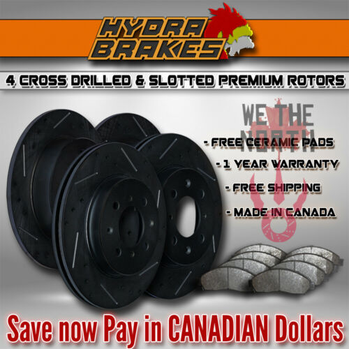 FITS 2011 2012 2013 Dodge Charger RT Drill Slot Brake Rotors CERAMIC BLK