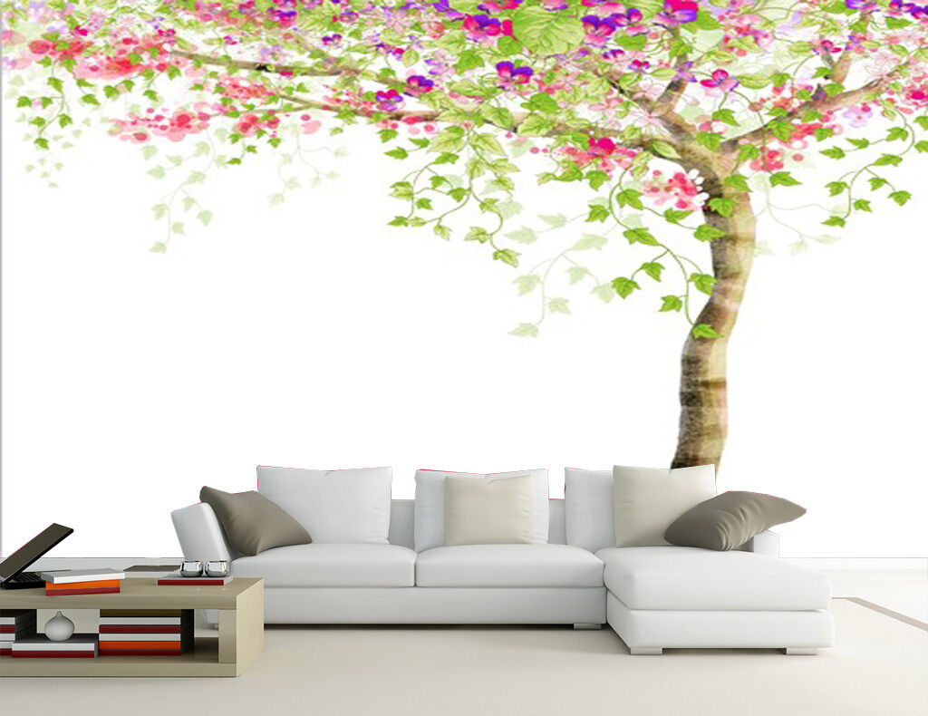 3D Simple Flowers Tree Wall Paper Wall Print Decal Wall Deco Indoor Murals
