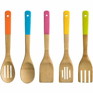 5 Piece Wooden Bamboo Kitchen Utensil Set Bright Coloured Handles