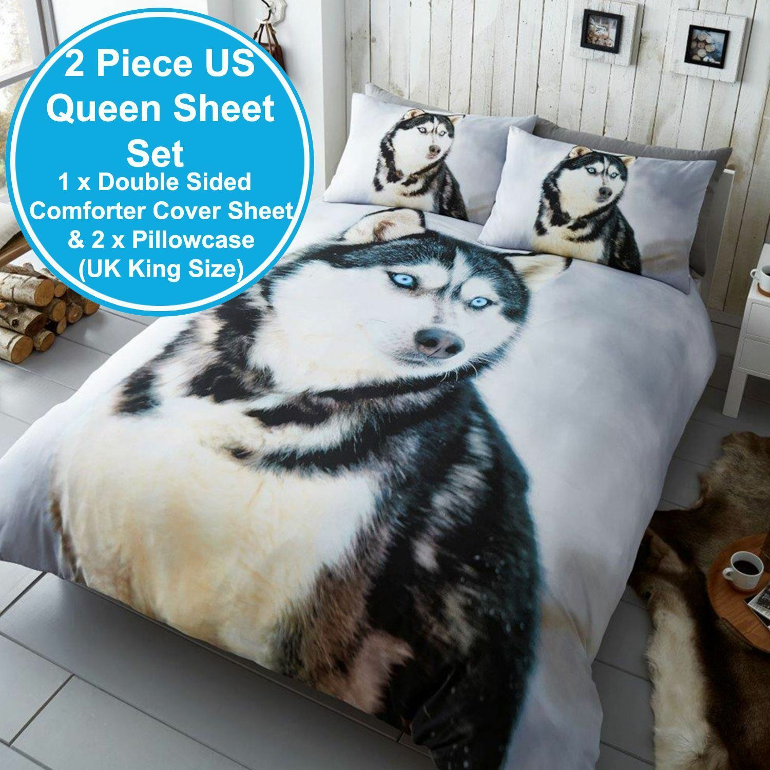 HUSKY DOG 2 PIECE UK KING   US QUEEN DOUBLE SIDED SHEET & PILLOWCASE SET NEW
