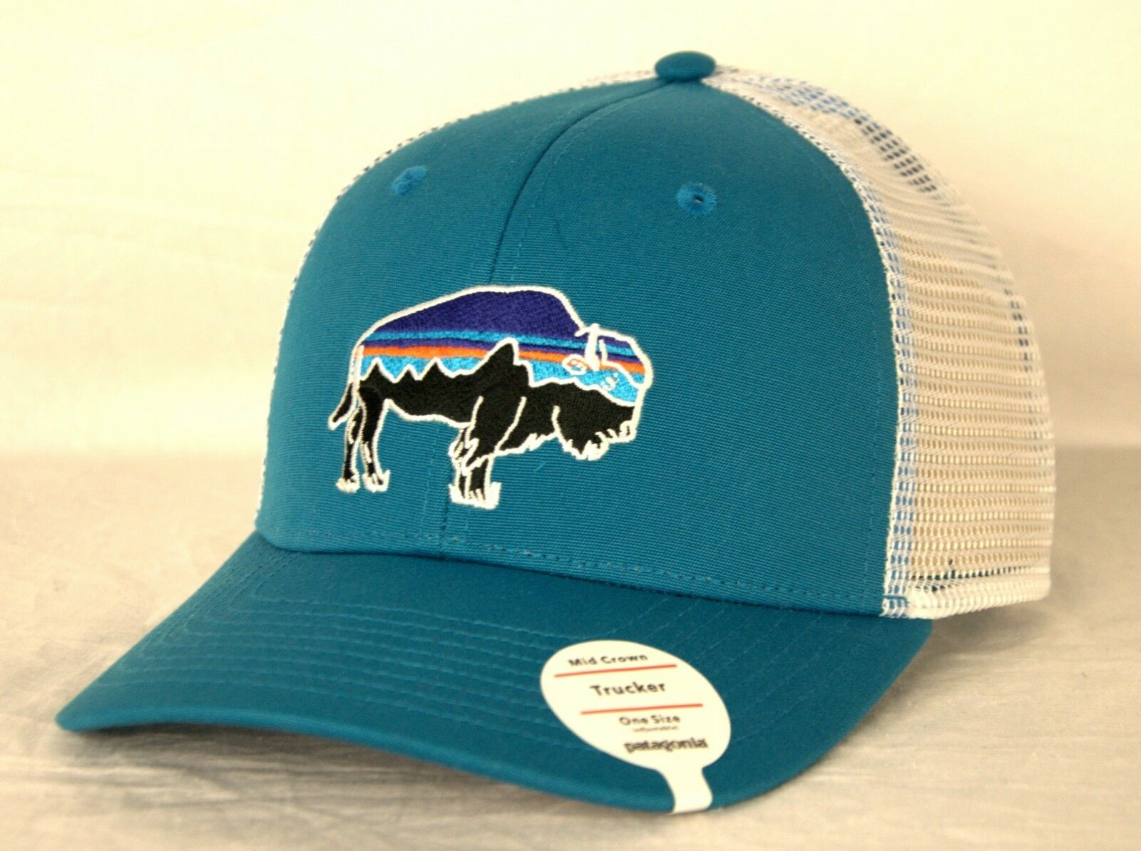 Patagonia Fitz Roy Bison Trucker Mesh Snapback Cap/Hat Size 38049 Lumi Blue One Size Cap/Hat f7236a