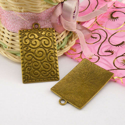 2Pcs Tibetan Silver,Antiqued Bronze Rectangle Charms Pendant Jewelry DIY M1285
