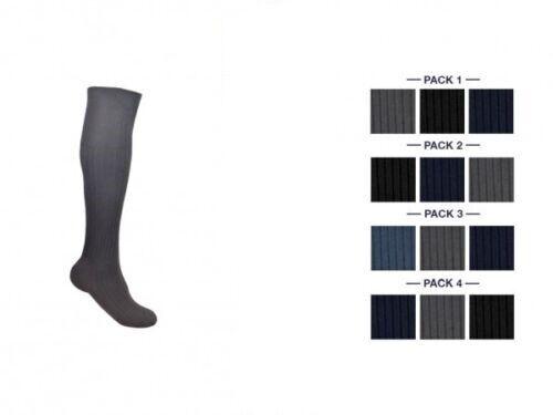 12 Coppie Uomini Lunga TUBAZIONE A Costine Plain Designer Calzini al ginocchio 100/% COTONE 6-11