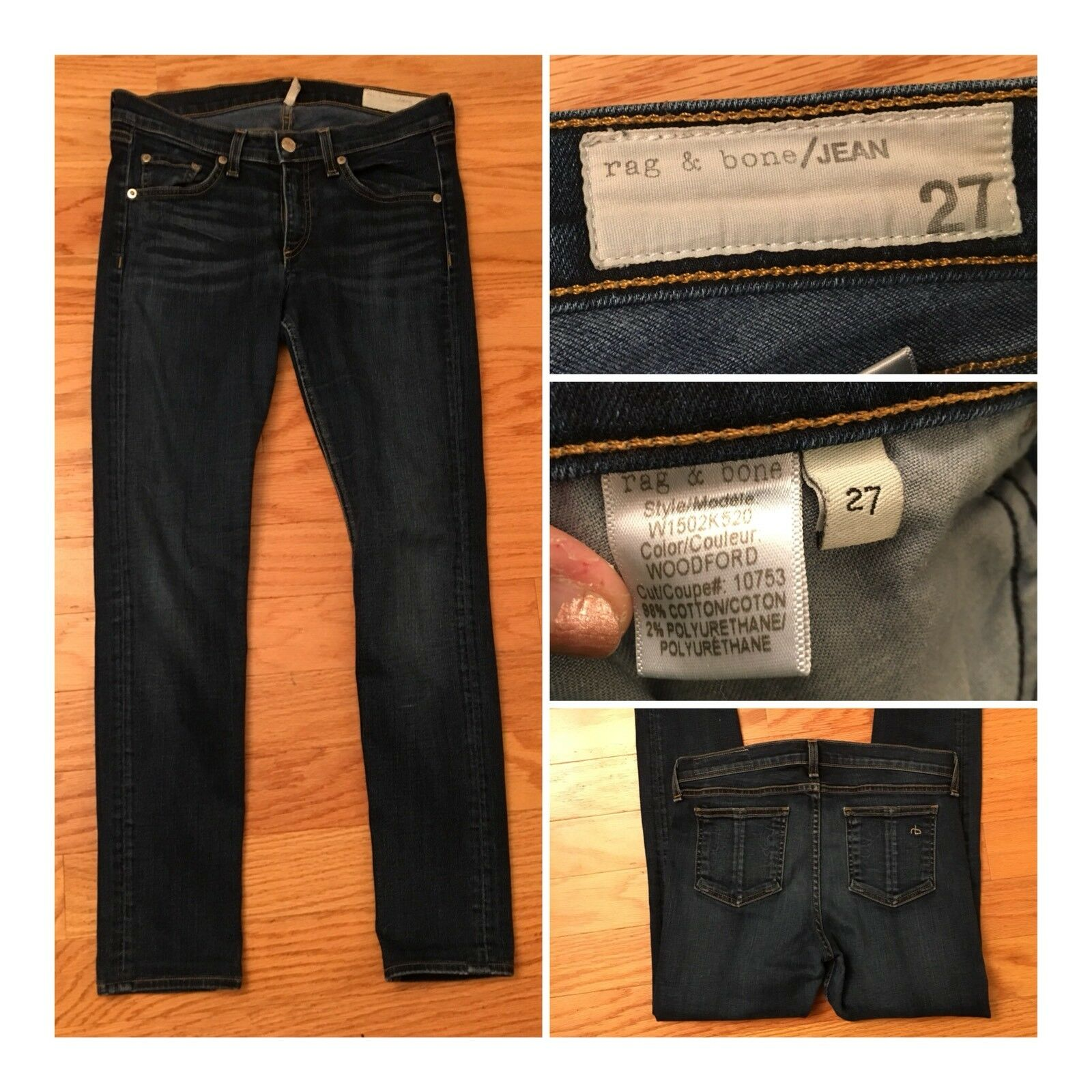 Rag & Bone Femme Jean Skinny Medium Wash Taille 27 x 28 Made in the USA