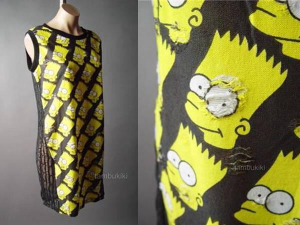 Cartoon Bart Simpson Face Novelty 90s Punk Grunge Black Tank Tunic 99 mv Dress L