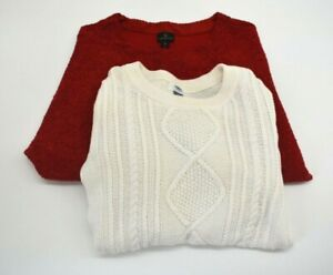 Lot-of-2-Worthington-Old-Navy-Women-039-s-M-Casual-3-4-Long-Sleeve-Knit-Sweater-Top