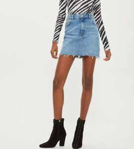 d0ad182dc6 Image is loading Topshop-Moto-Women-Denim-Mini-Skirt-05R20NMDT-Light-