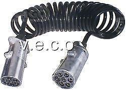 180195 24 VOLT 24V 7 PIN TRAILER PLUG AND SOCKET WITH 3.5 METRE CABLE COIL
