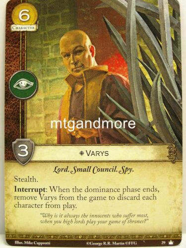 1x #029 Varys Base Set Second Edition A Game of Thrones 2.0 LCG