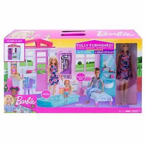 Barbie-Maison-Portable-avec-Piscine-de-Poupees-Poupee-Incluses-Neuf