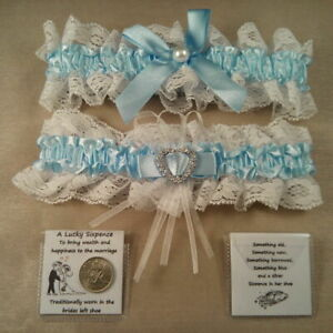 Wedding-Garter-plus-Lucky-Sixpence-For-Bride-039-s-Shoe-Something-Blue