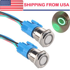 2 16mm Green Angel Eye Led 12v Latching Push Button Power Switch Waterproof