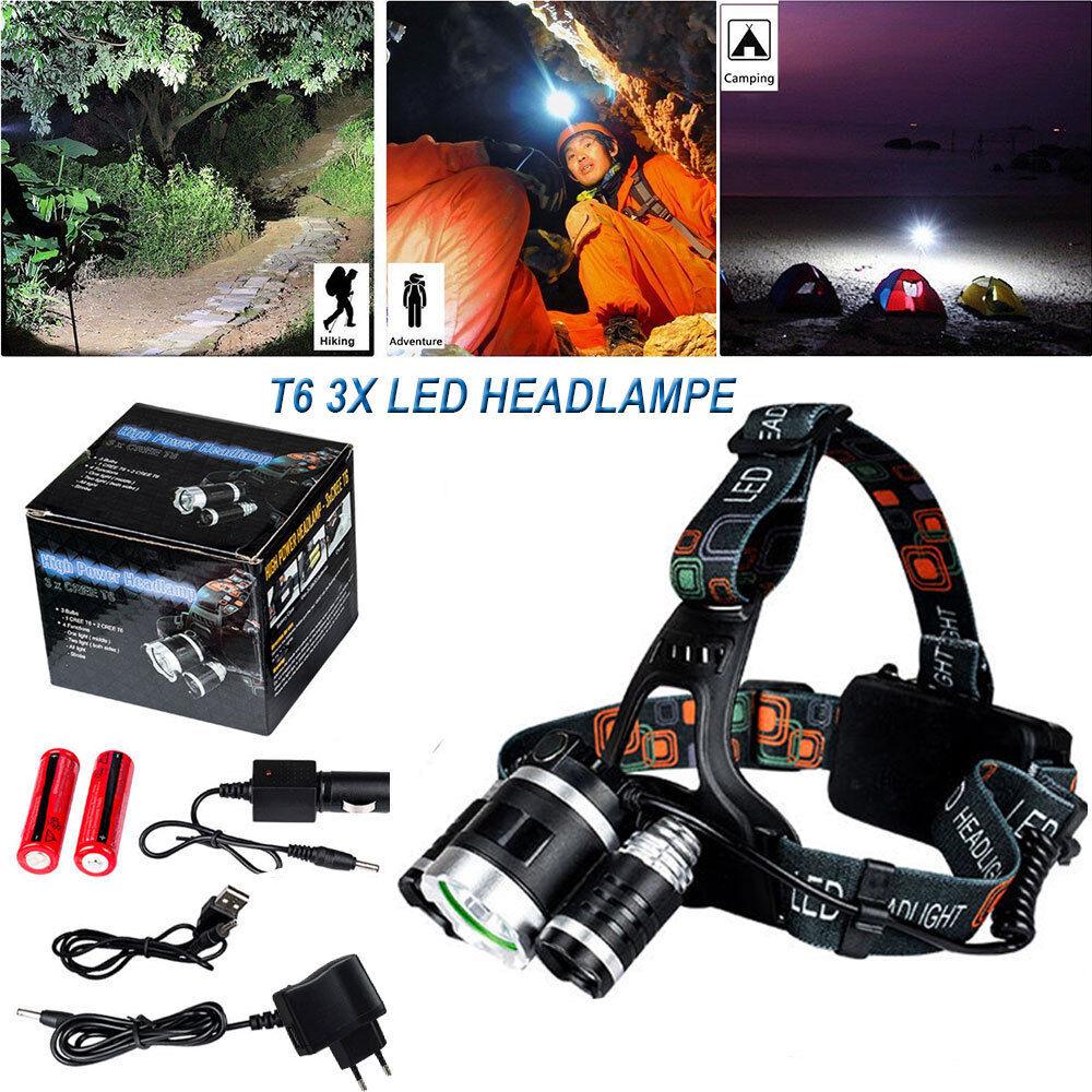 Profi LED Stirnlampe Kopflampe 8000LM 3x XM-L T6 inkl.2x 18650 Akku +Ladegerät