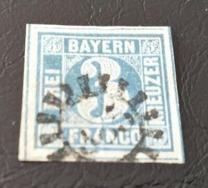 Bayern-3-Kreuzer-blau-Mi-Nr-2-II5-gestempelt-mit-gMR-385-Passau
