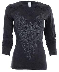 AFFLICTION-Women-LS-Western-T-Shirt-LEATHERSMITH-Cross-RHINESTONES-Biker-64