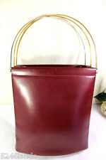 Vintage Cartier Trinity Maroon Leather Tote Shoulder Handbag Hand Bag France