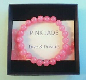 Power Bead Bracelet Pink Jade Gemstone Semi Precious Crystal Love & Dreams