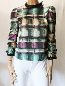 Unbranded-Multi-Print-Faux-Leather-Trim-Blouse-Top-Size-XS-BNWT-SF63