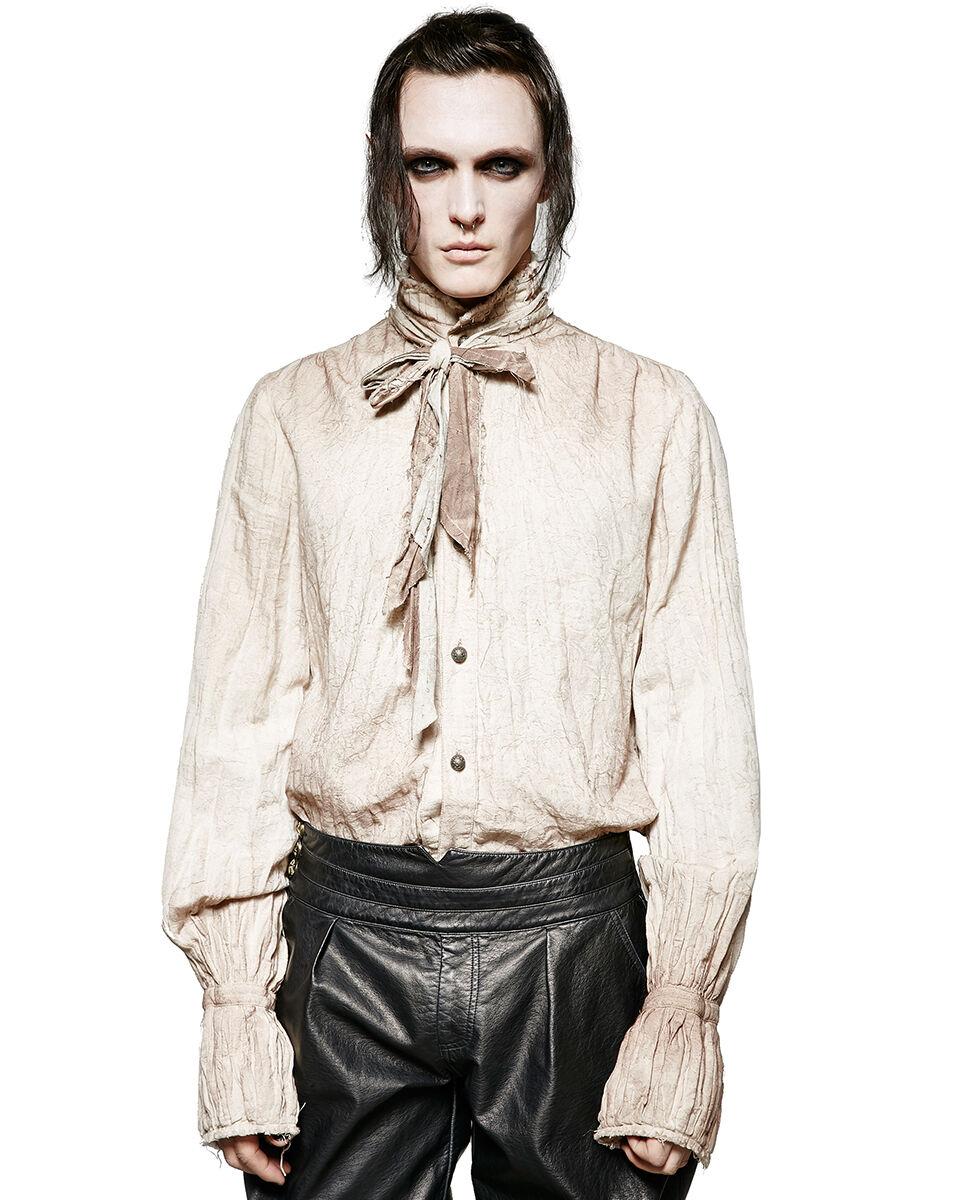 Punk Rave  Herren Steampunk Poet Shirt Top Weiß Gothic VTG Victorian + Scarf Tie