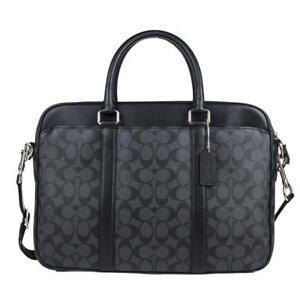 fc8fc85e938 Coach Mens Leather Signature Slim Briefcase Laptop Bag Black F54803 ...