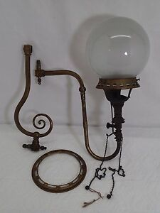 Antique Wall Gas Lamps : Antique WELSBACH GAS LAMP Wall Sconce with Glass Shade REFLEX Size No 1 eBay