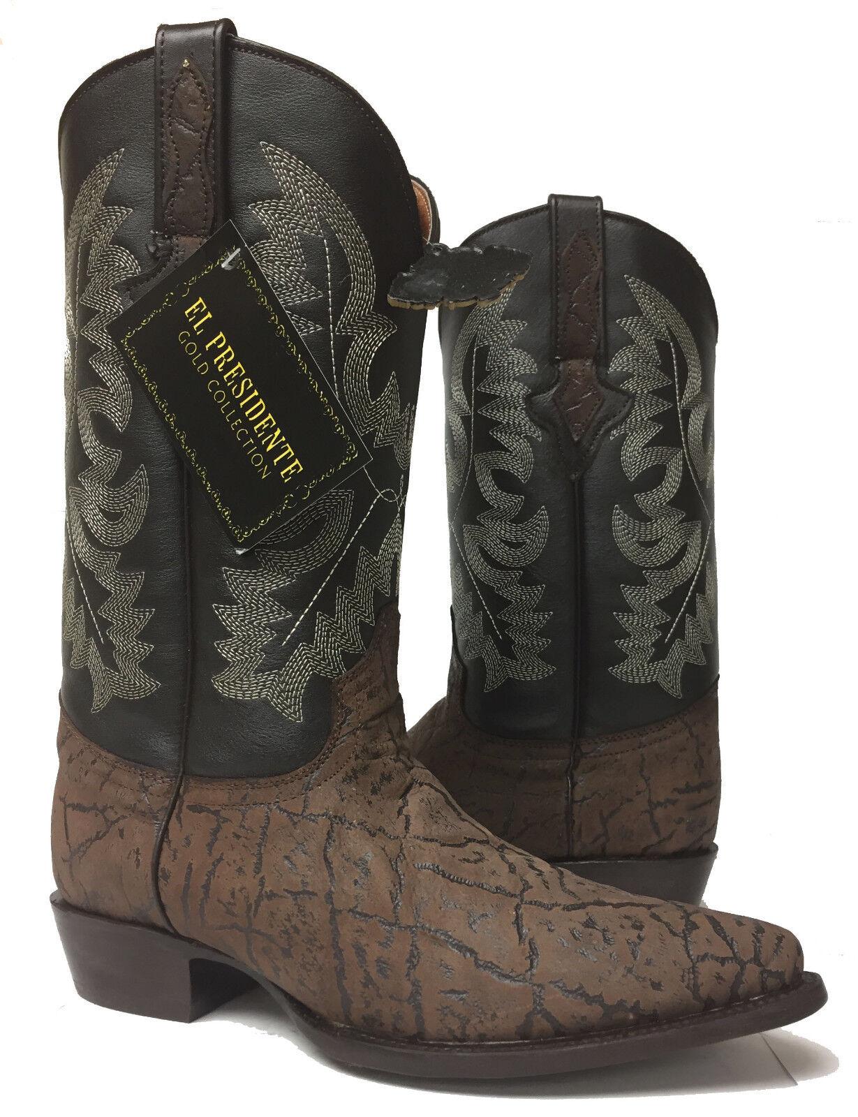 Nuevo Para hombres Cuero Marrón Elefante Diseño Exótico Oeste Rodeo botas de vaquero