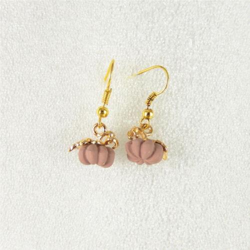 Handmade Mini Rose Citrouille LOOK METAL Charm Dangle Boucles d/'oreilles pendantes bijoux 52881