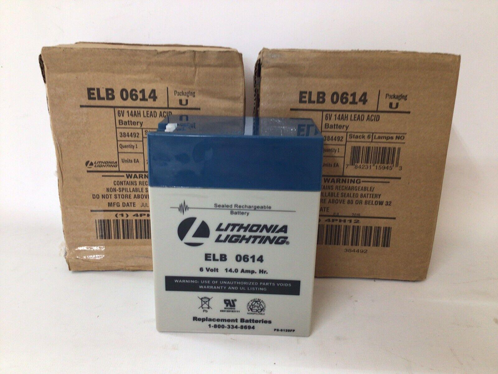 (Lot Of 2) Lithonia Lighting ELB0614 Sealed Rechargable Battery 6 Volt 14 Amp