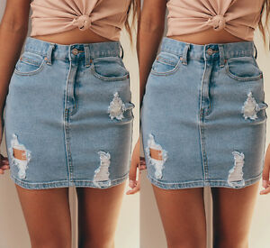Womens-Ripped-Distressed-Hole-Denim-washed-Mini-Short-Skirt-Pocket-Button-Skirt