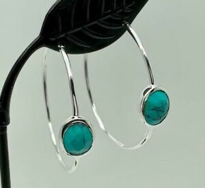 925-Sterling-Silver-Large-Hoop-Earrings-Turquoise-Gemstones-Natural-Stone-Hoops