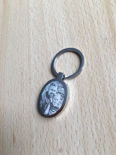 Personalised Engraved Handprint Premium Qual Footprint Or Photo Oval Keyring