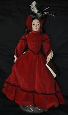Franklin Heirloom Doll / Jo Little Women / Maroon Dress w/ Stand