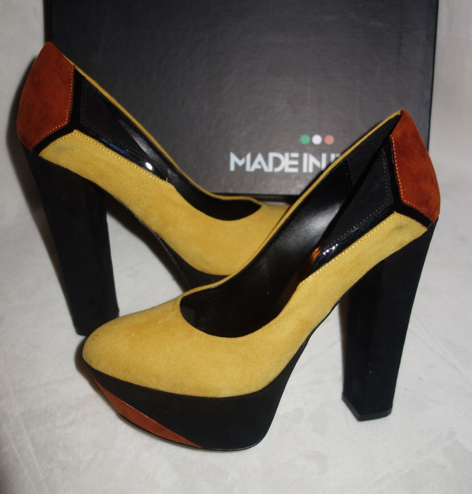 Made in Italia Platform Pumps multi color Suede yellow Size 35` new