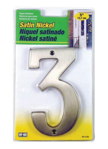 "Hy-Ko 5/"" Satin Nickel House Street Address Numbers 0-9 Solid Brass NEW BR-51SN"